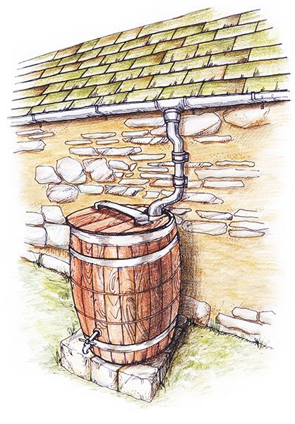 ▲ 빗물집수정(빗물을 모아 텃밭이나 화장실용 중수로 사용 가능)