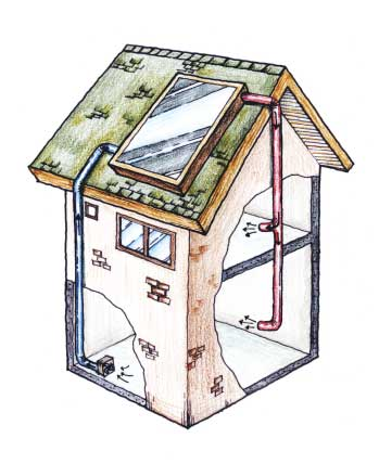 ▲ 지붕위에 설치된 햇빛온풍기 모습