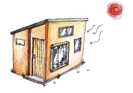 ▲ 햇빛온풍기가 작동중인 건물 그림