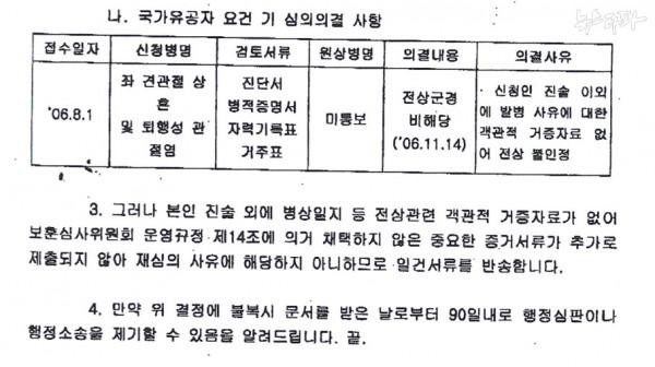 ▲ 2007년 의정부보훈지청이 장한수 씨에게 보낸 국가유공자 등록 신청 반려 통보서